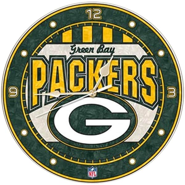 Green Bay Packers Art-Glass Wall Clock nfl adidas jersey contract